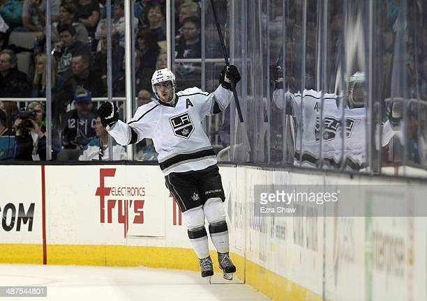 Anze Kopitar of the Los Angeles Kings celebrates after he scored a goal in second period of their game against the San Jose Sharks in Game Seven of...