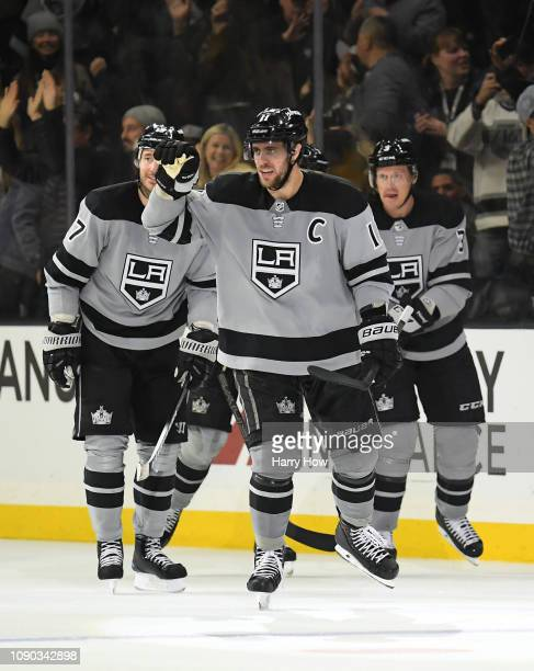 Anze Kopitar of the Los Angeles Kings celebrates his 300th career goal to take a 4-0 lead over the Edmonton Oilers during the third period in a 4-0...