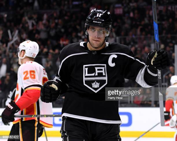 Anze Kopitar of the Los Angeles Kings celebrates his goal to take a 20 lead over the Calgary Flames during the second period at Staples Center on...