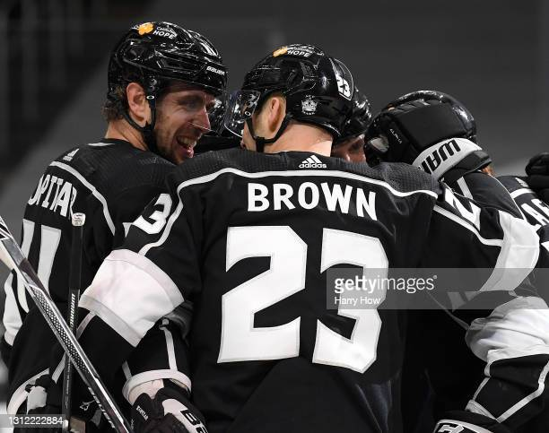 Anze Kopitar of the Los Angeles Kings celebrates his goal with Dustin Brown, to take a 2-0 lead over the Vegas Golden Knights, during the second...