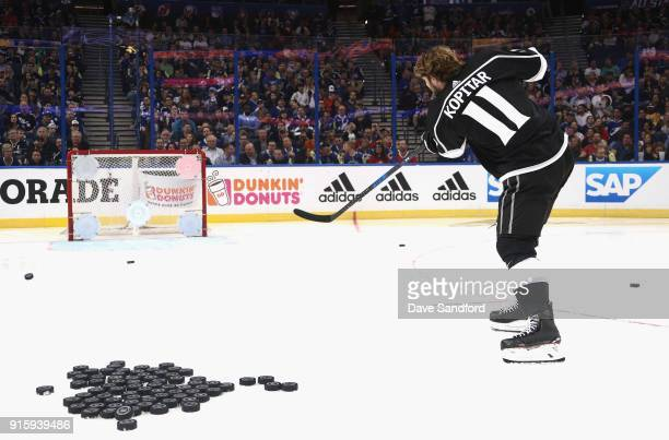 Anze Kopitar of the Los Angeles Kings competes in the Honda NHL Accuracy Shooting during 2018 GEICO NHL AllStar Skills Competition at Amalie Arena on...