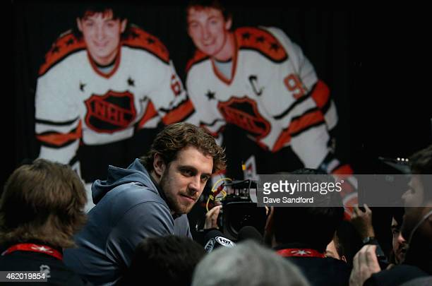 Anze Kopitar of the Los Angeles Kings during the Media Availability as part of the 2015 NHL AllStar weekend at Nationwide Arena on January 23 2015 in...