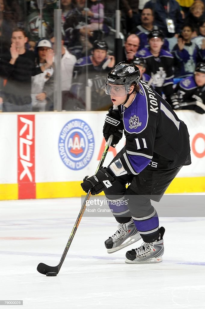 Anze Kopitar #11 of the Los Angeles Kings handles the puck during the game against the Dallas Stars on January 12, 2008 at Staples Center in Los Angeles, California.