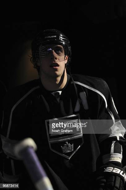 Anze Kopitar of the Los Angeles Kings heads to the ice from the dressing room prior to the game against the Anaheim Ducks during the game on January...