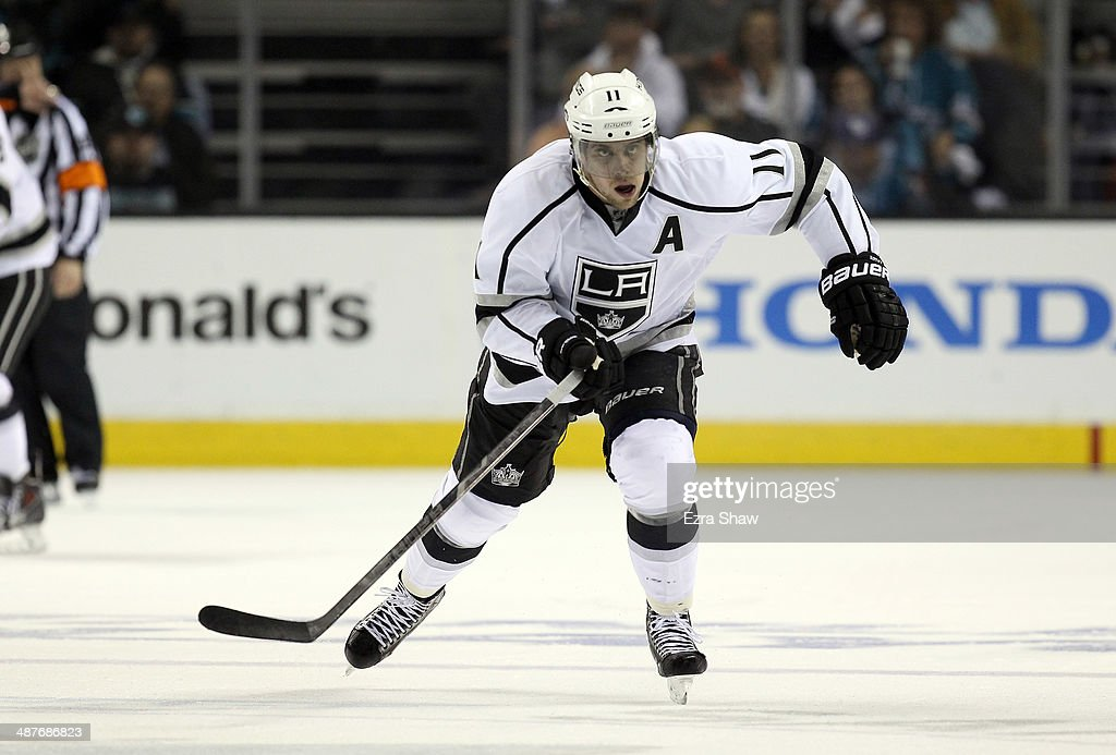 Anze Kopitar #11 of the Los Angeles Kings in action against the San Jose Sharks in Game Two of the First Round of the 2014 NHL Stanley Cup Playoffs at SAP Center on April 20, 2014 in San Jose, California.