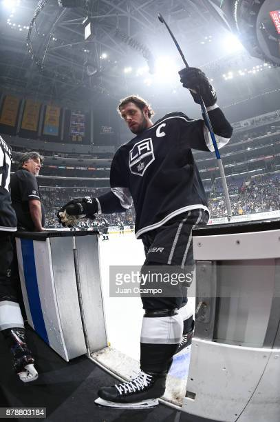 Anze Kopitar of the Los Angeles Kings is seen before a game against the Winnipeg Jets at STAPLES Center on November 22 2017 in Los Angeles California