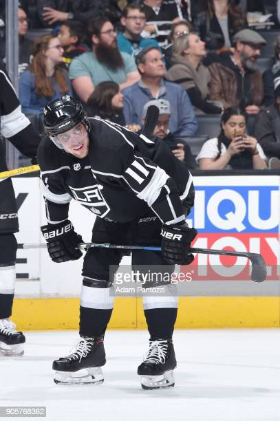 Anze Kopitar of the Los Angeles Kings looks on during a game against the San Jose Sharks at STAPLES Center on January 15 2018 in Los Angeles...