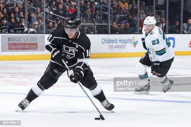 Anze Kopitar of the Los Angeles Kings looks to shoot the puck during a game against the San Jose Sharks at STAPLES Center on January 15 2018 in Los...