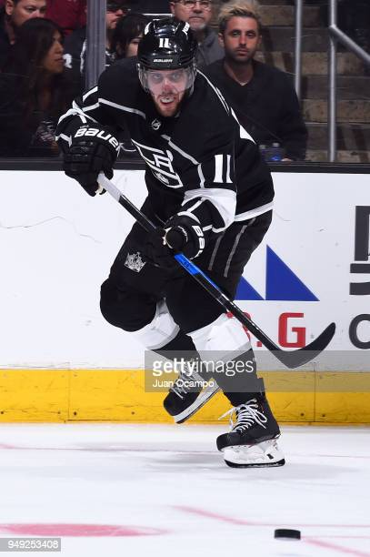 Anze Kopitar of the Los Angeles Kings passes the puck in Game Four of the Western Conference First Round against the Vegas Golden Knights during the...
