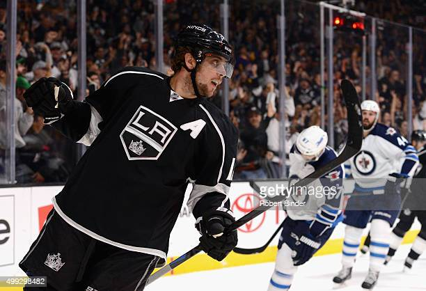 Anze Kopitar of the Los Angeles Kings plays in the game against the Winnipeg Jets at Staples Center on October 12 2014 in Los Angeles California