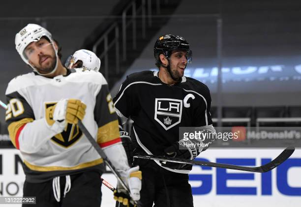 Anze Kopitar of the Los Angeles Kings reacts to his goal along with Chandler Stephenson of the Vegas Golden Knights, to take a 2-0 lead, during the...