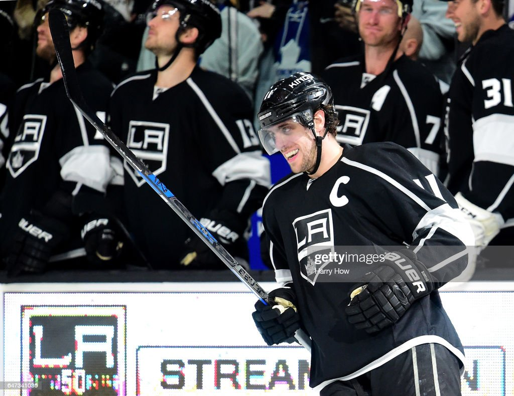 Anze Kopitar #11 of the Los Angeles Kings reacts to his goal in overtime shootout on way to a 3-2 win over the Toronto Maple Leafs at Staples Center on March 2, 2017 in Los Angeles, California.