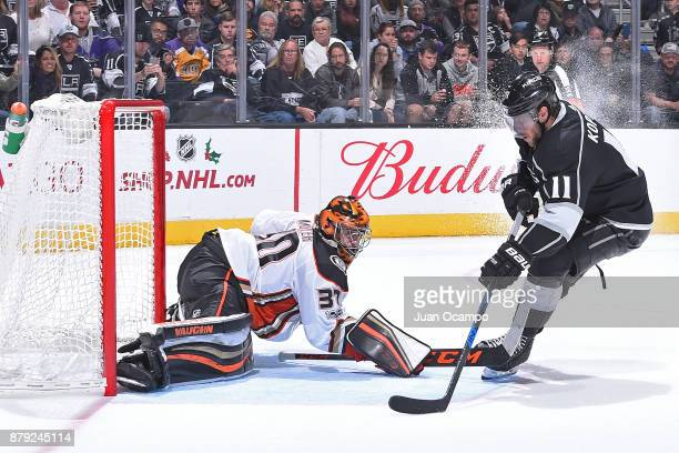 Anze Kopitar of the Los Angeles Kings scores against Ryan Miller of the Anaheim Ducks in an overtime shootout at STAPLES Center on November 25 2017...