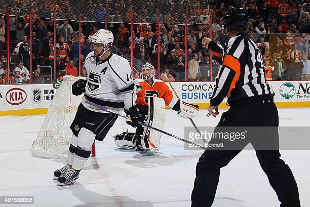 Anze Kopitar of the Los Angeles Kings scores the game winning goal in the shootout against Steve Mason of the Philadelphia Flyers at the Wells Fargo...