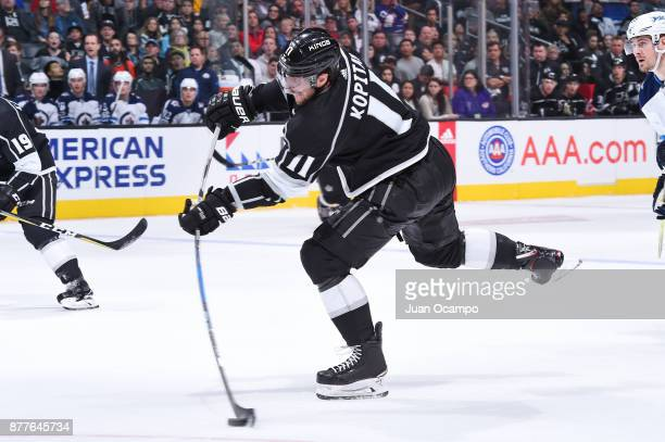 Anze Kopitar of the Los Angeles Kings shoots the puck during a game against the Winnipeg Jets at STAPLES Center on November 22 2017 in Los Angeles...