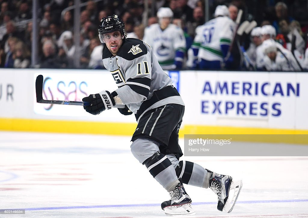 Anze Kopitar #11 of the Los Angeles Kings skates during the game against the Vancouver Canucks at Staples Center on October 22, 2016 in Los Angeles, California.