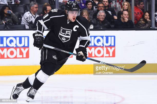 Anze Kopitar of the Los Angeles Kings skates during the game against the Arizona Coyotes on April 2 2017 at Staples Center in Los Angeles California