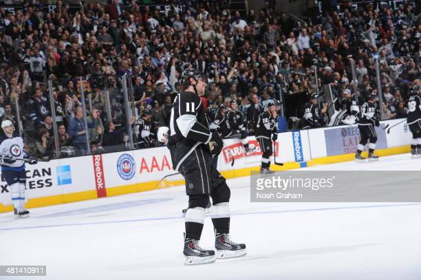 Anze Kopitar of the Los Angeles Kings skates on the ice during the game against the Winnipeg Jets at Staples Center on March 29 2014 in Los Angeles...