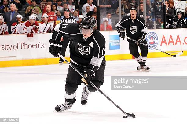 Anze Kopitar of the Los Angeles Kings skates with the puck against the Phoenix Coyotes on April 8 2010 at Staples Center in Los Angeles California