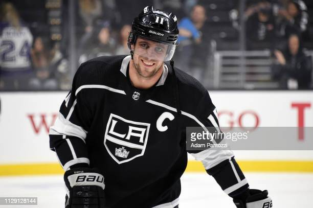 Anze Kopitar of the Los Angeles Kings smiles while skating during warmup before the game against the St Louis Blues at STAPLES Center on March 7 2019...