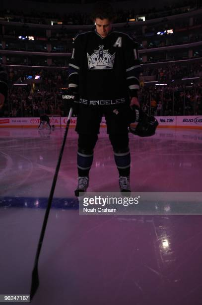 Anze Kopitar of the Los Angeles Kings stands on the ice prior to the game against the Boston Bruins on January 16 2010 at Staples Center in Los...