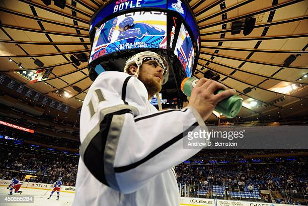 Anze Kopitar of the Los Angeles Kings takes a drink before taking on the New York Rangers in Game Three of the 2014 Stanley Cup Final at Madison...