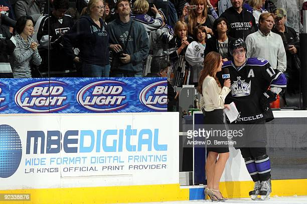 Anze Kopitar of the Los Angeles Kings talks with Heidi Androl after the win against Columbus Blue Jackets on October 25 2009 at Staples Center in Los...