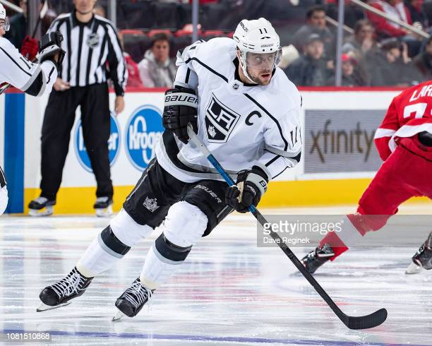 Anze Kopitar of the Los Angeles Kings turns up ice against the Detroit Red Wings during an NHL game at Little Caesars Arena on December 10 2018 in...