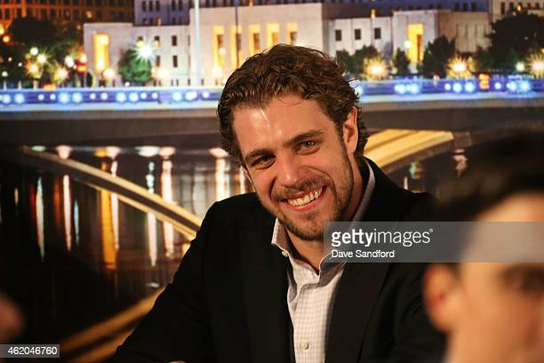 Anze Kopitar of the Los Angeles Kings waits backstage prior to the 2015 NHL AllStar Fantasy Draft as part of the 2015 NHL AllStar Weekend at the...