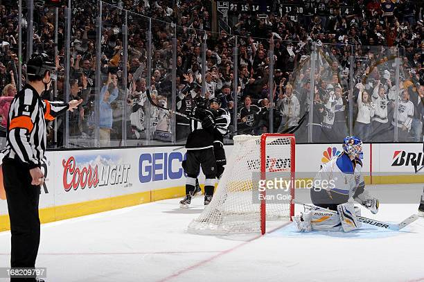 Anze Koptitar and Dustin Brown of the Los Angeles Kings celebrate a goal against the St Louis Blues in Game Four of the Western Conference...