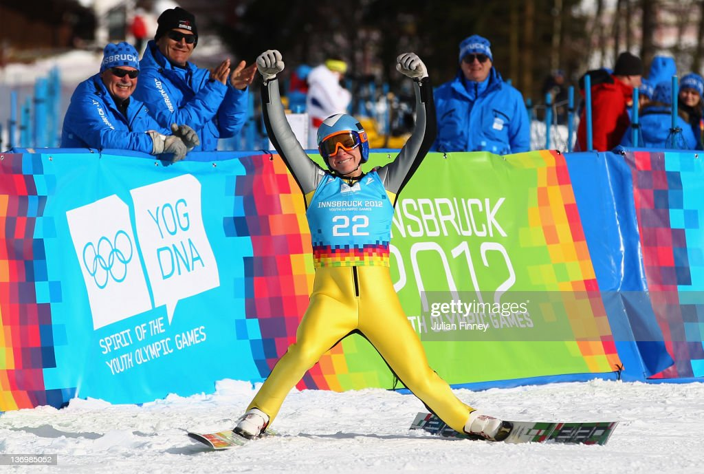 Anze Lanisek of Slovenia celebrates winning the Men's Ski Jump during the Winter Youth Olympic Games Ski Jumping at Seefeld Arena on January 14, 2012 in Seefeld, Austria.