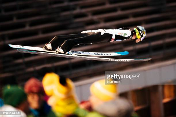 Anze Lanisek soars in the air during the men's large hill team competition HS130 of the FIS Ski Jumping World Cup in Lahti, Finland, on February 29,...