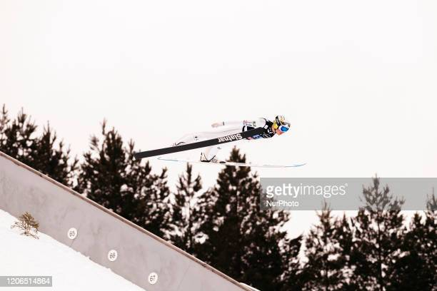 Anze Lanisek soars in the air during the trial round of the men's large hill team competition HS130 of the FIS Ski Jumping World Cup in Lahti,...
