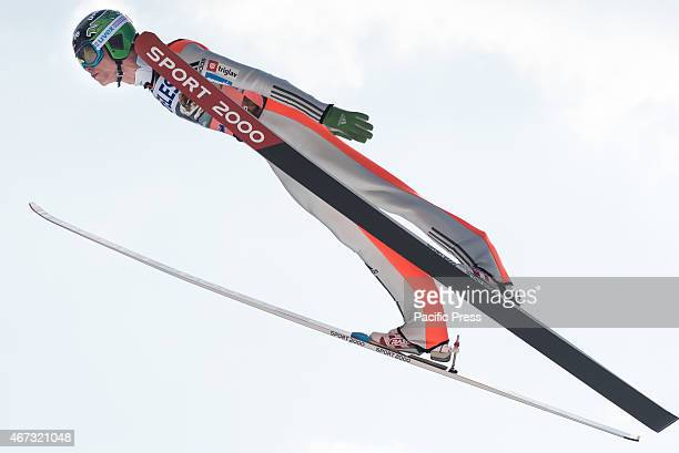 Anze Semenic of Slovenia competes during FIS World Cup Planica Flying Hill Individual Ski Jumping. Ski jumping is a form of nordic skiing in which...