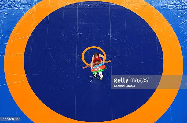 Anzhela Dorogan of Azerbaijan celebrates after winning gold in the Women's Wrestling 53kg Freestyle final against Roksana Zasina of Poland during day...