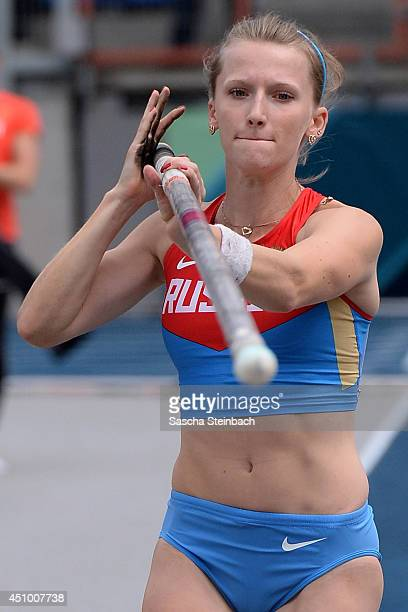 Anzhelika Sidorova of Russia competes in the Women's Pole Vault during first day of the European Athletics Team Championship at Eintracht Stadium on...