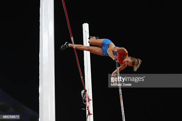 Anzhelika Sidorova of Russia competes in the Women's Pole Vault final during day five of the 15th IAAF World Athletics Championships Beijing 2015 at...