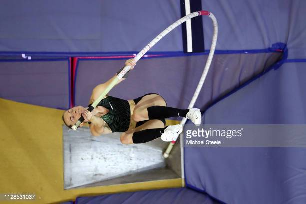 Anzhelika Sidorova of Russia in action during the final of the women's pole vault on day three of the 2019 European Athletics Indoor Championships at...