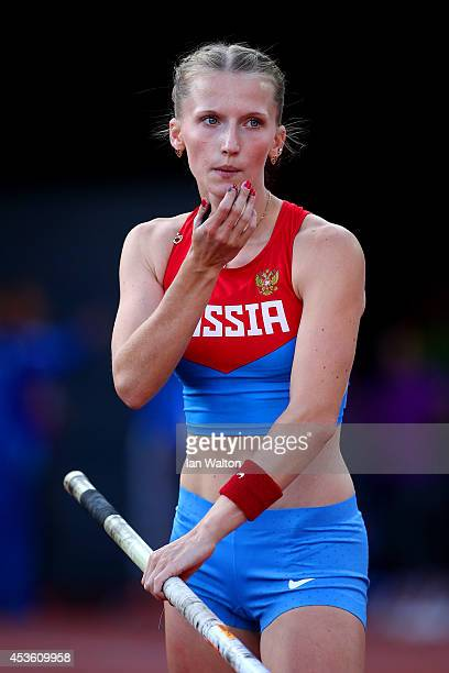 Anzhelika Sidorova of Russia prepares to compete in the Women's Pole Vault final during day three of the 22nd European Athletics Championships at...