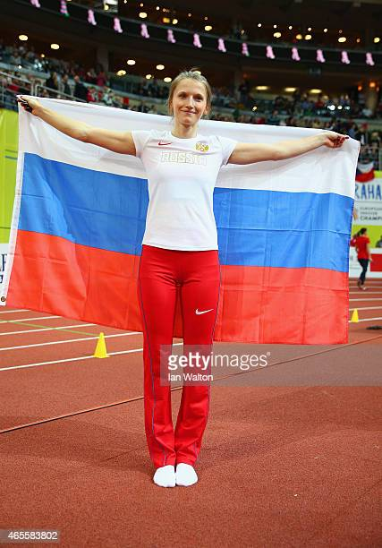 Anzhelika Sidorova of Russia wins gold in the Women's Pole Vault Final during day three of the 2015 European Athletics Indoor Championships at O2...