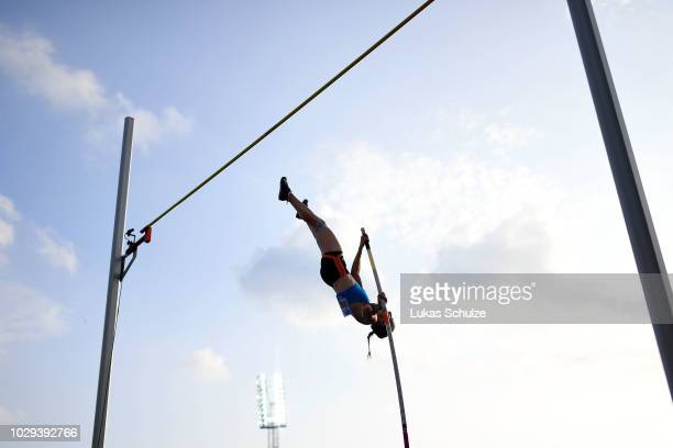 Anzhelika Sidorova of Team Europe competes in the Womens Pole Vault during day one of the IAAF Continental Cup at Mestsky Stadium on September 8 2018...