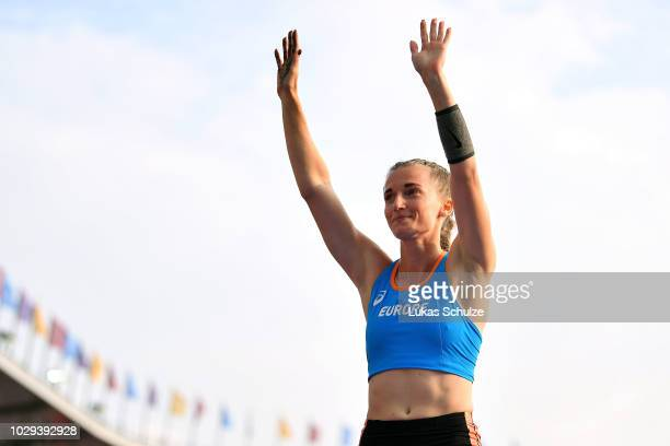 Anzhelika Sidorova of Team Europe reacts in the Womens Pole Vault during day one of the IAAF Continental Cup at Mestsky Stadium on September 8 2018...