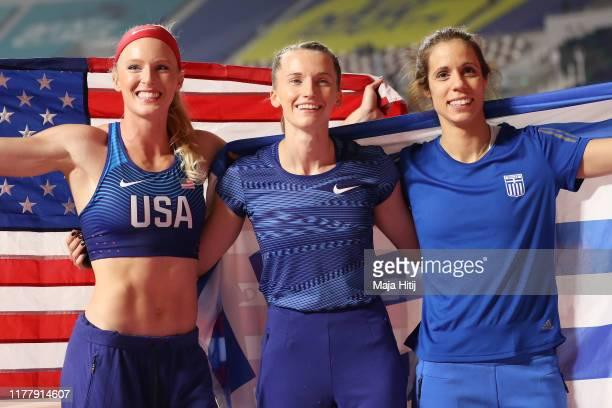 Anzhelika Sidorova of the Authorised Neutral Athletes gold Sandi Morris of the United States silver and Katerina Stefanidi of Greece bronze celebrate...