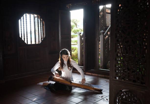 Ao Dai Viet Nam playing music with Dan Tranh