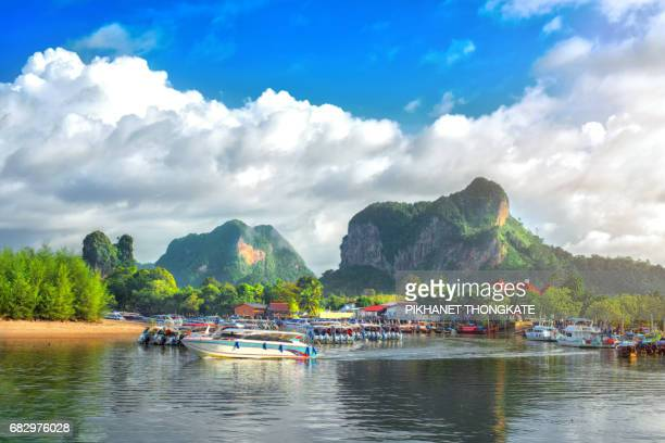 Ao Nang port in morning at Krabi Thailand where ourist Starting tour
