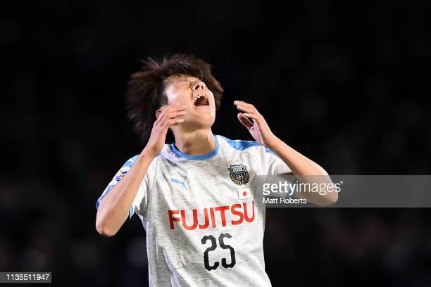 Ao Tanaka of Kawasaki Frontale reacts during the AFC Champions League Group H match between Kawasaki Frontale and Sydney FC at Todoroki Stadium on...