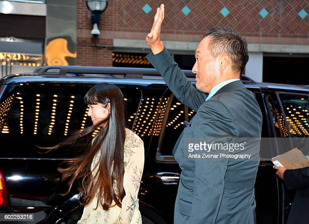Aoi Miyazaki and Ken Watanabe attend the Rage premiere at The Elgin on September 10 2016 in Toronto Canada
