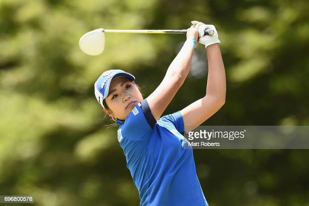 Aoi Ohnishi of Japan hits her tee shot on the 12th hole during the second round of the Nichirei Ladies at the on June 17 2017 in Chiba Japan