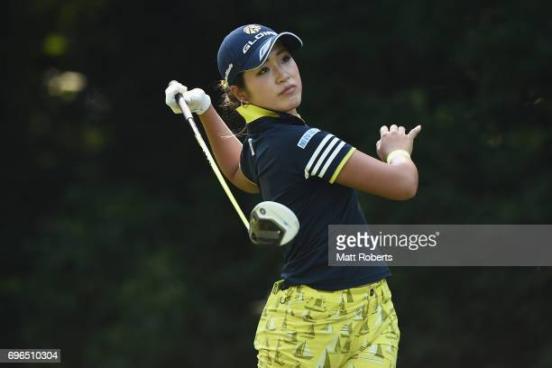 Aoi Ohnishi of Japan hits her tee shot on the 8th hole during the first round of the Nichirei Ladies at the Sodegaura Country Club Shinsode Course on...