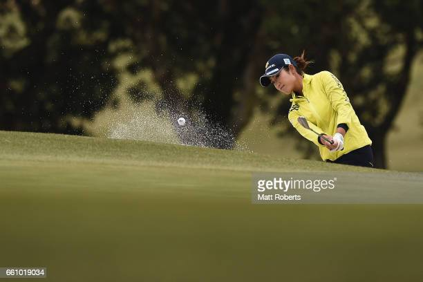 Aoi Ohnishi of Japan hits out of the bunker on the eighth hole during the second round of the YAMAHA Ladies Open Katsuragi at the Katsuragi Golf Club...